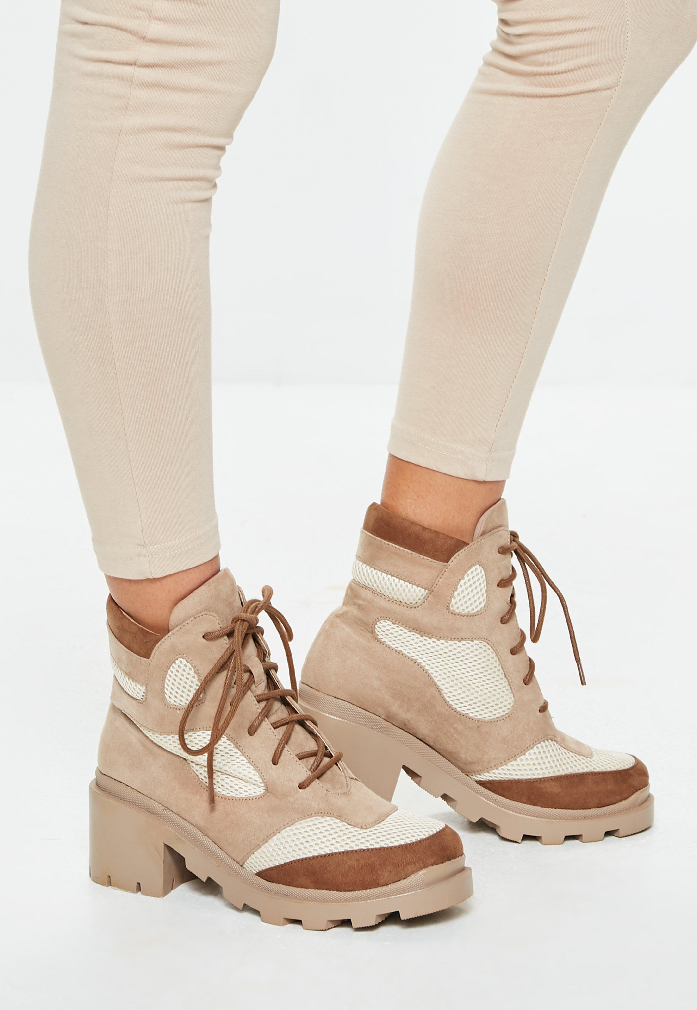 9b759475109e Tan Contrast Panel Lace Up Boots