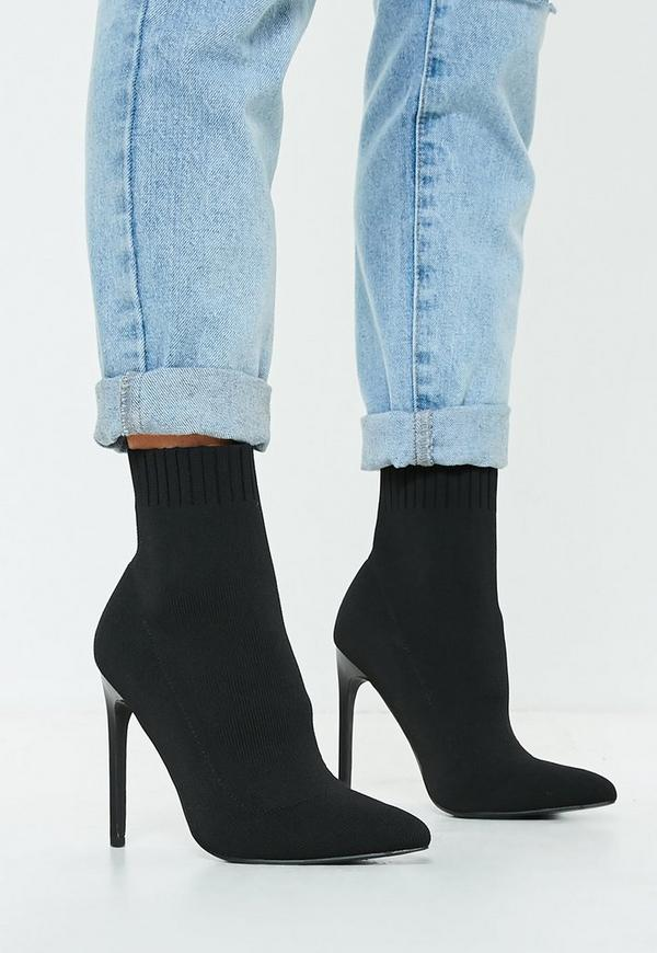 f4608f392ea1 Black Knitted Pointed Toe Sock Ankle Boots