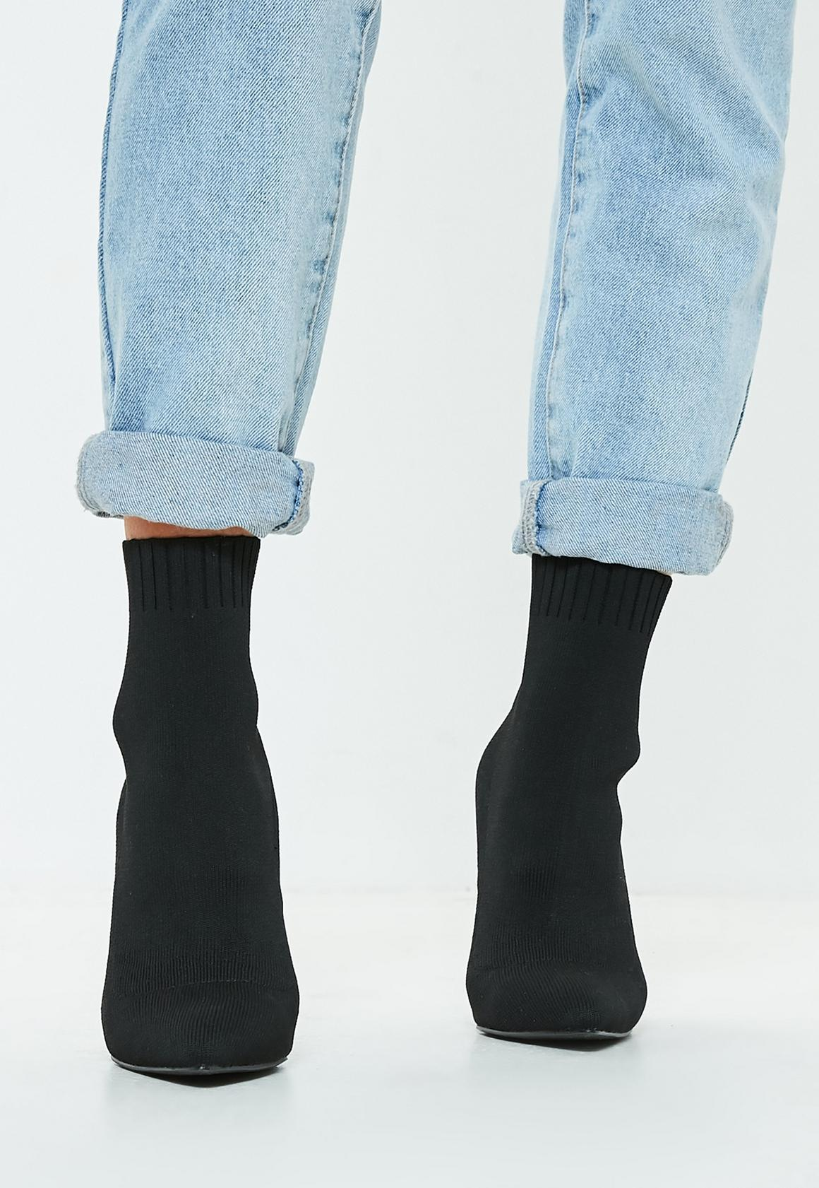 16b3cab8bbb6 Missguided Knitted Pointed Toe Sock Ankle Boots at £40
