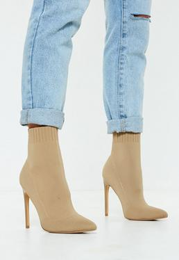 Bottines beiges type chaussette bouts pointus