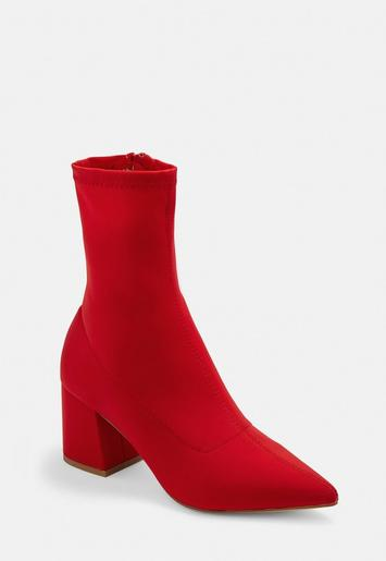 Red Mid Heel Sock Boots Missguided