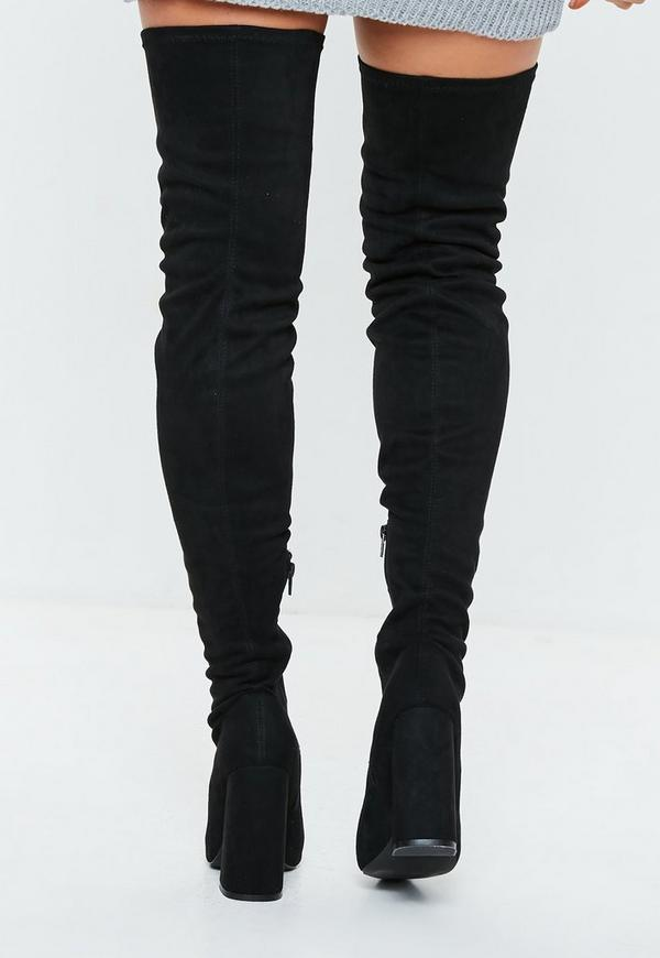 Black Over The Knee Flared Heel Boots Missguided