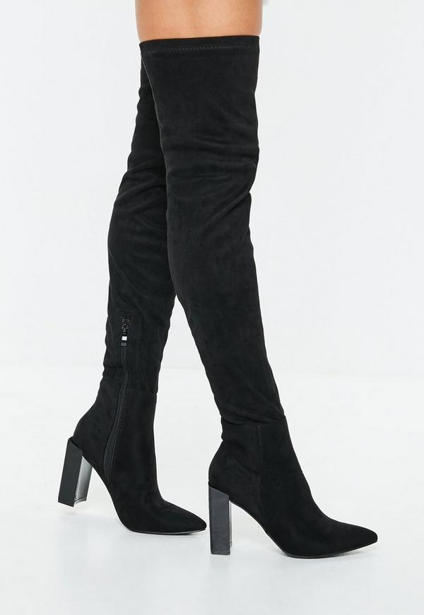 4c4eae38f4f7 ... Black Pointed Toe Over The Knee Faux Suede Boots. Previous Next