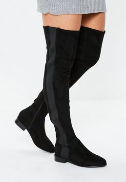 ea0e1702e96 Black Platform Sole Boots  Black Over The Knee Chelsea Boots