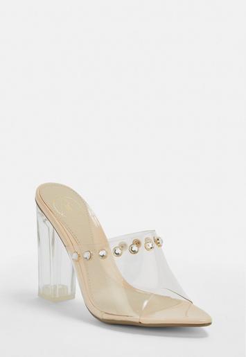 01b35fde9b1 Nude Clear Block Heel Mules