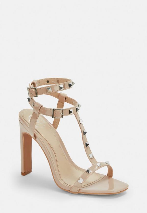 9d6036a108a ... Nude Bar Studded Heel Sandals. Previous Next