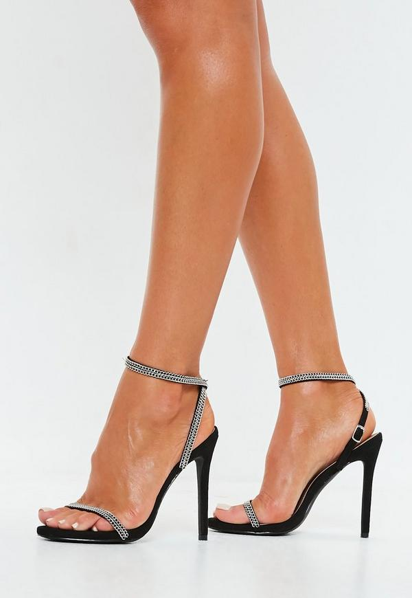 4bc1486b739 Black Chain Trim Barely There Heels