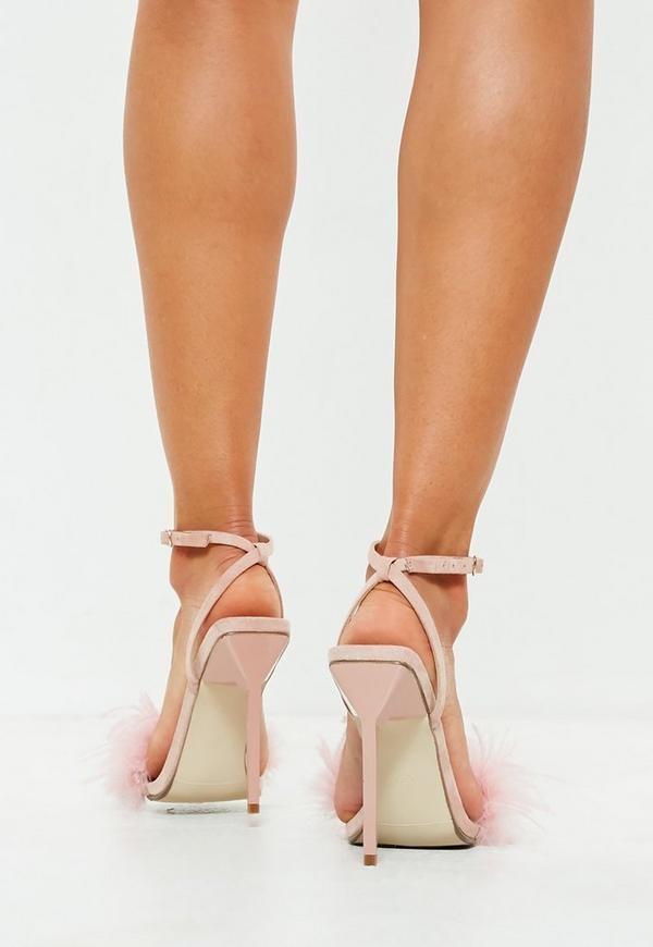 d6961cc5fda53 ... Blush Feather Barely There Heeled Sandals. Previous Next