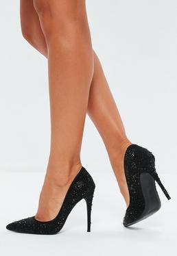 598f23de4d5b Black All Over Diamante Court Shoes
