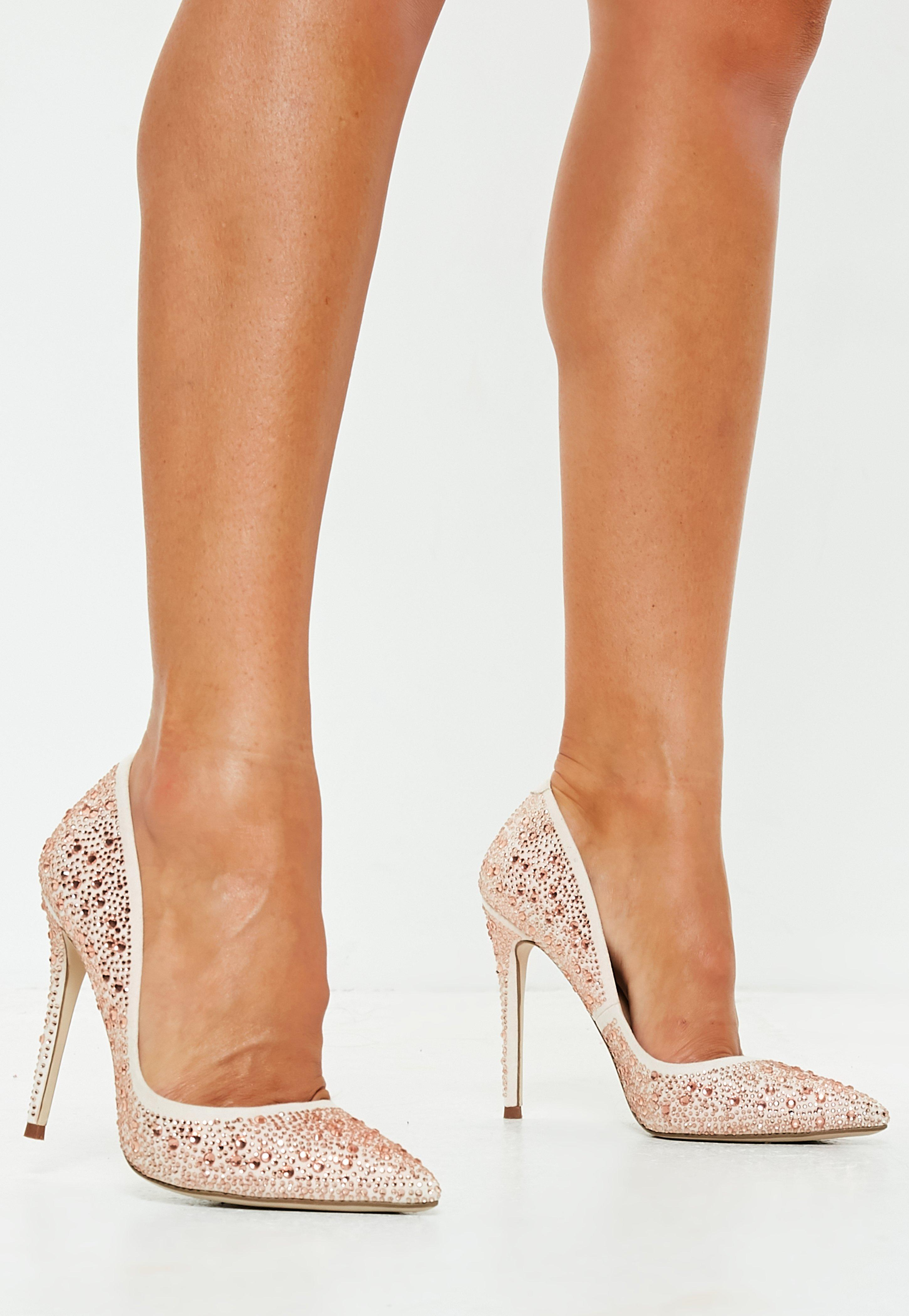 dd27bd4209 Champagne All Over Diamante Court Shoes   Missguided