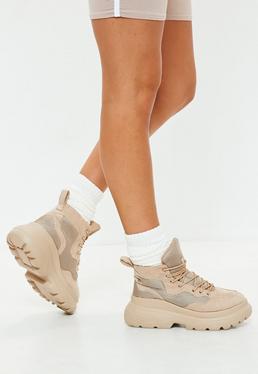 Beige Double Sole Hiking Sneaker Boots