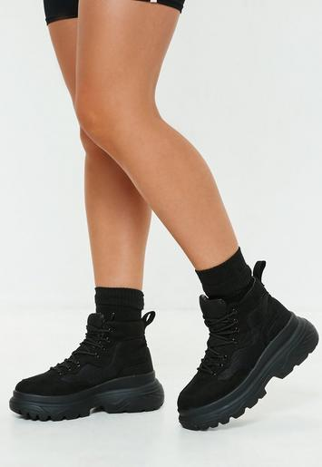 Black Double Sole Hiking Sneaker Boots Missguided