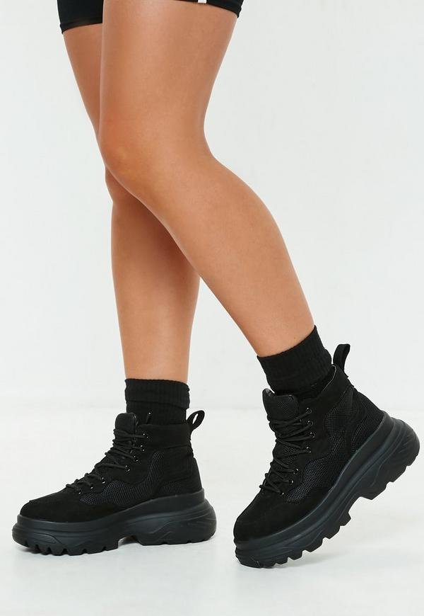 Black Double Sole Hiking Sneaker Boots by Missguided