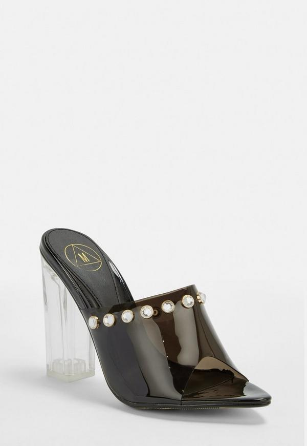 Black Clear Block Heel Mules by Missguided