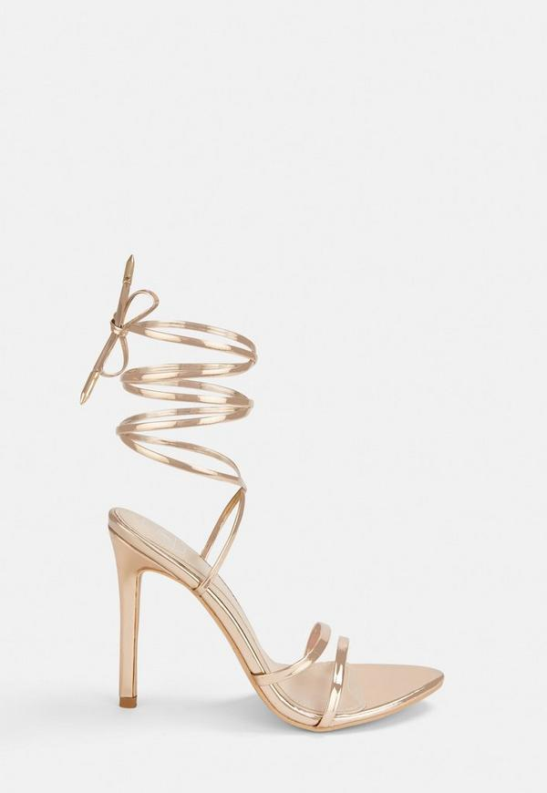 Rose Gold Pointed Toe Barely There Heels Missguided