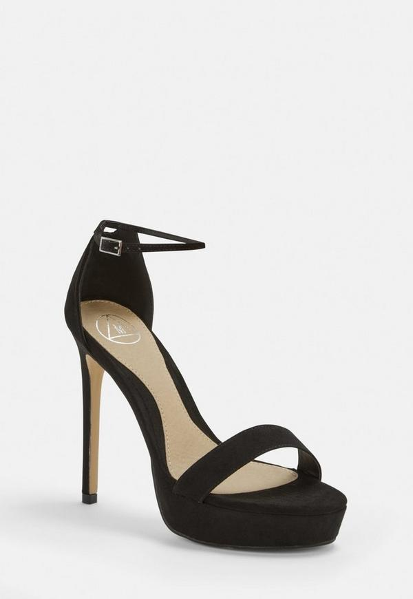 Black Faux Suede Simple Strap Platform Heeled Sandals