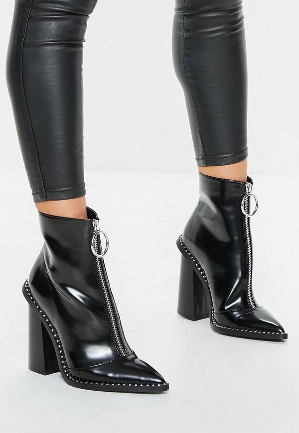 MissGuided bottines noires à talons détails cloutés et zip