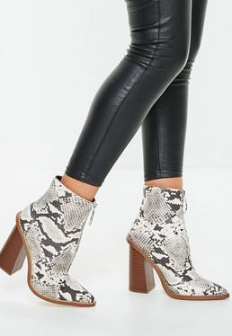 ebce60d02 Grey Snake Print Zip Front Ring Pull Boots