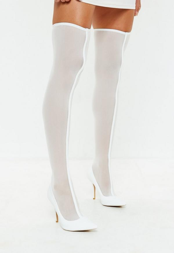 c768565db79 ... White Mesh Over The Knee Sock Boots. Previous Next