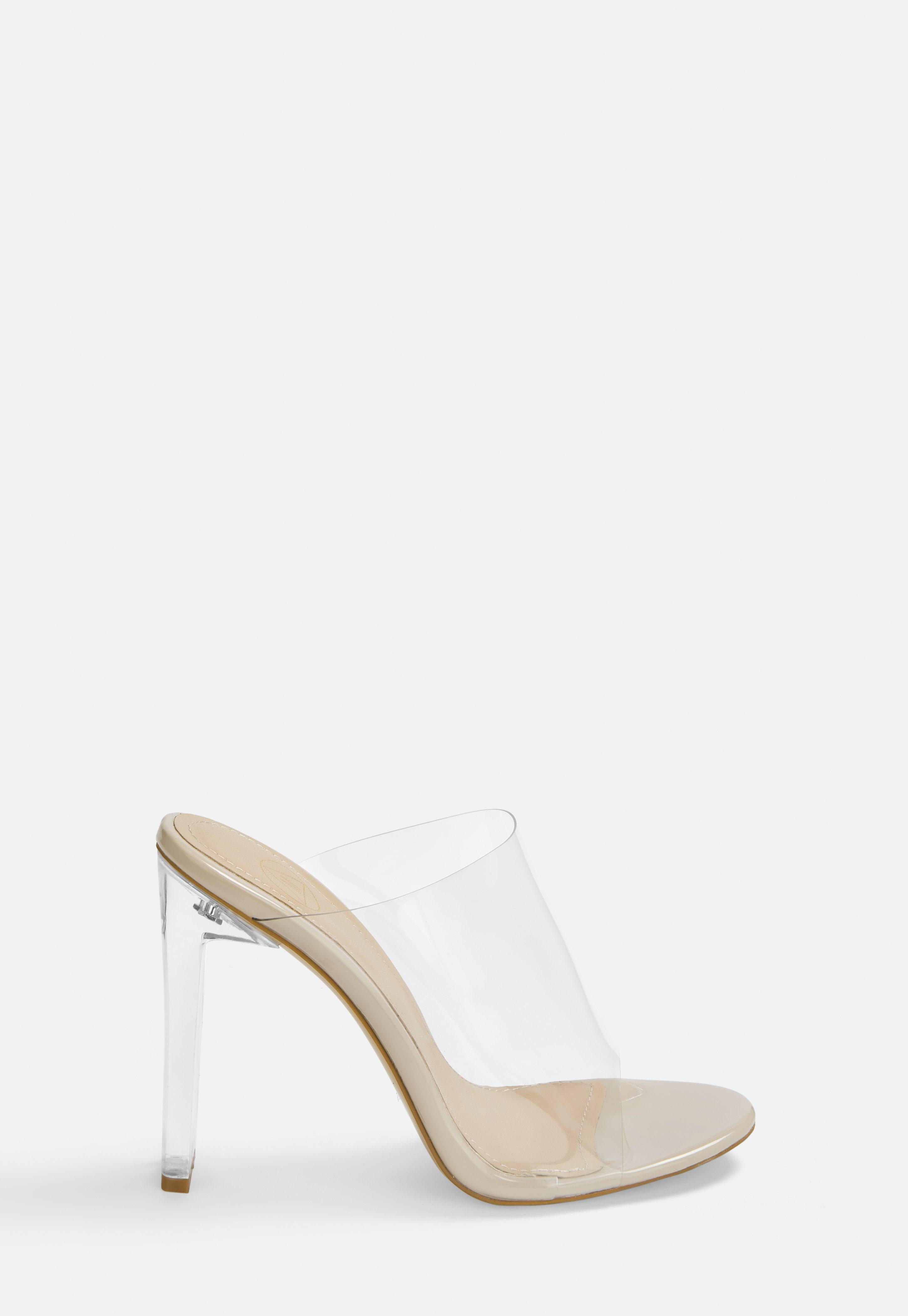 ede63123f99 Nude Illusion Heels Clear Mules