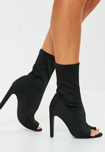 Black Peep Toe Post Sock Heeled Ankle Boots Missguided