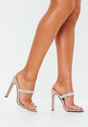 b547d94a2af4ba £22.00. nude diamante trim toe post heels
