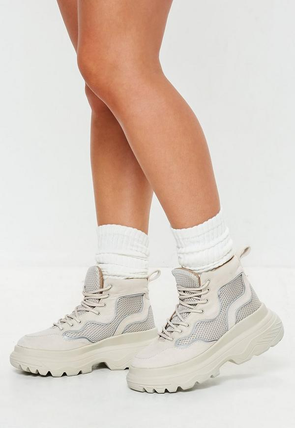 White Reflective Trim Double Sole Hiking Sneaker Boots by Missguided