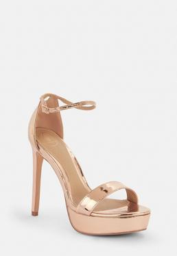c3ab1cd89e4e Rose Gold Basic Barely There Heels  Rose Gold Simple Strap Platform Sandals