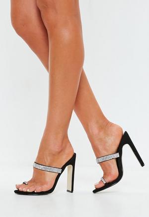 6a58bfdd730 £14.00. black diamante trim toe post heels
