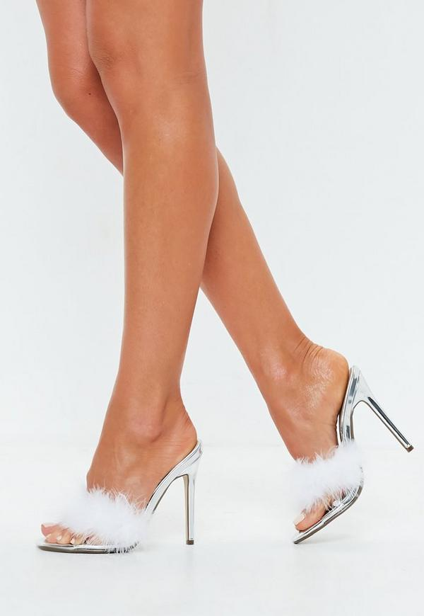 Silver Clear Feather Detail Mules Missguided