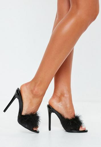 Black Clear Feather Detail Mules Missguided