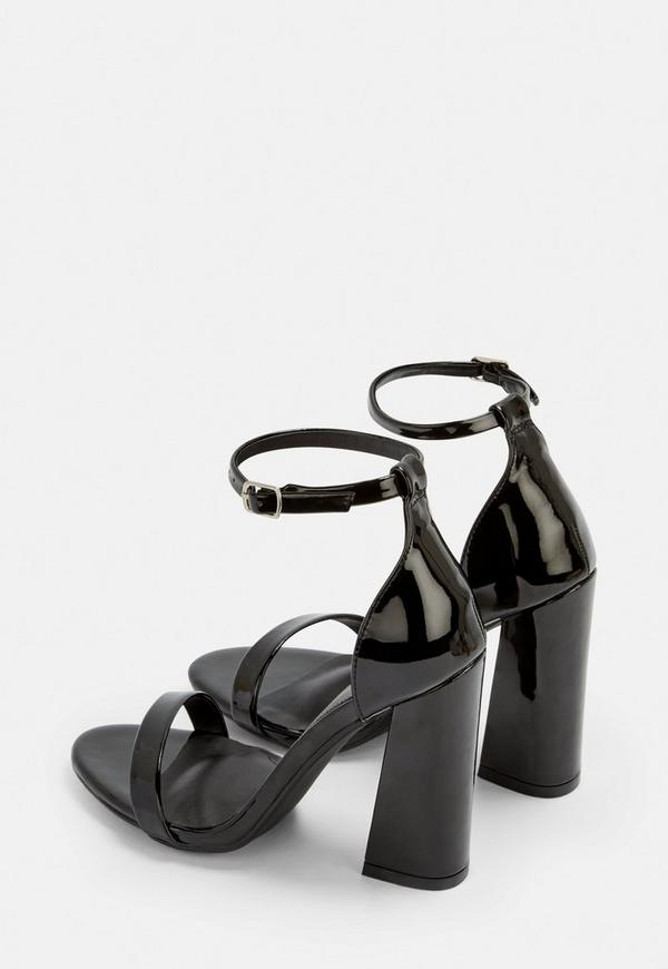 0019c67ee3f Black Patent Barely There Flared Block Heels. Previous Next