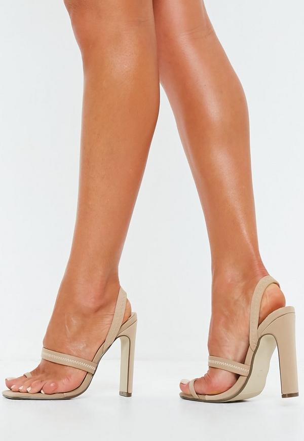 eb71738d8f8cf4 Nude Toe Post Illusion Slingback Heels