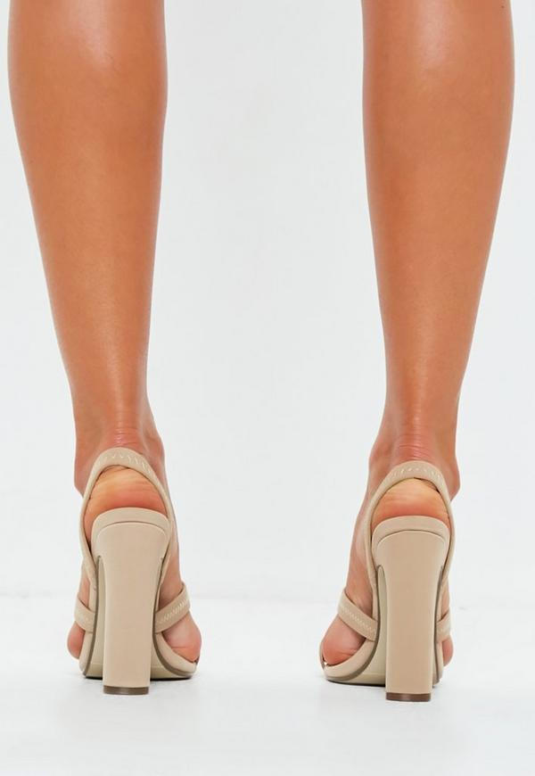 506064e22737e1 Nude Toe Post Illusion Slingback Heels. Previous Next
