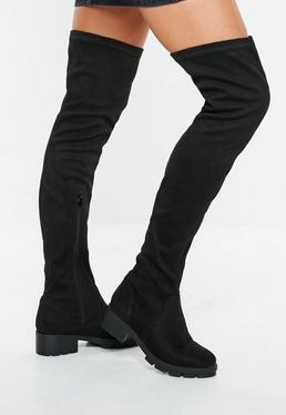 6dabf215b7c Black Cleated Sole Over The Knee Boots  Black Knee High Cleated Sole Boots