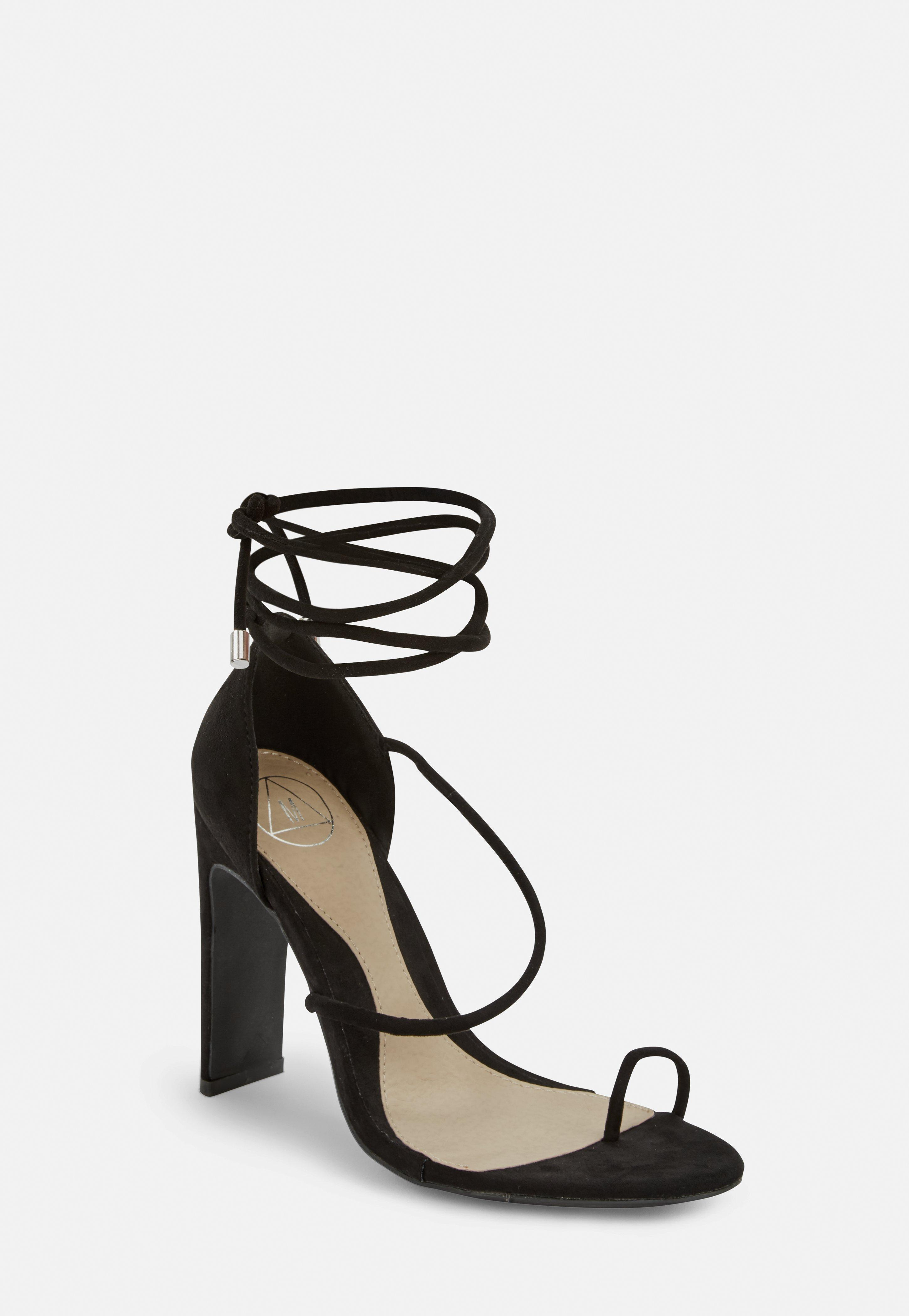 12552676b Black Strappy Toe Post Heeled Sandals
