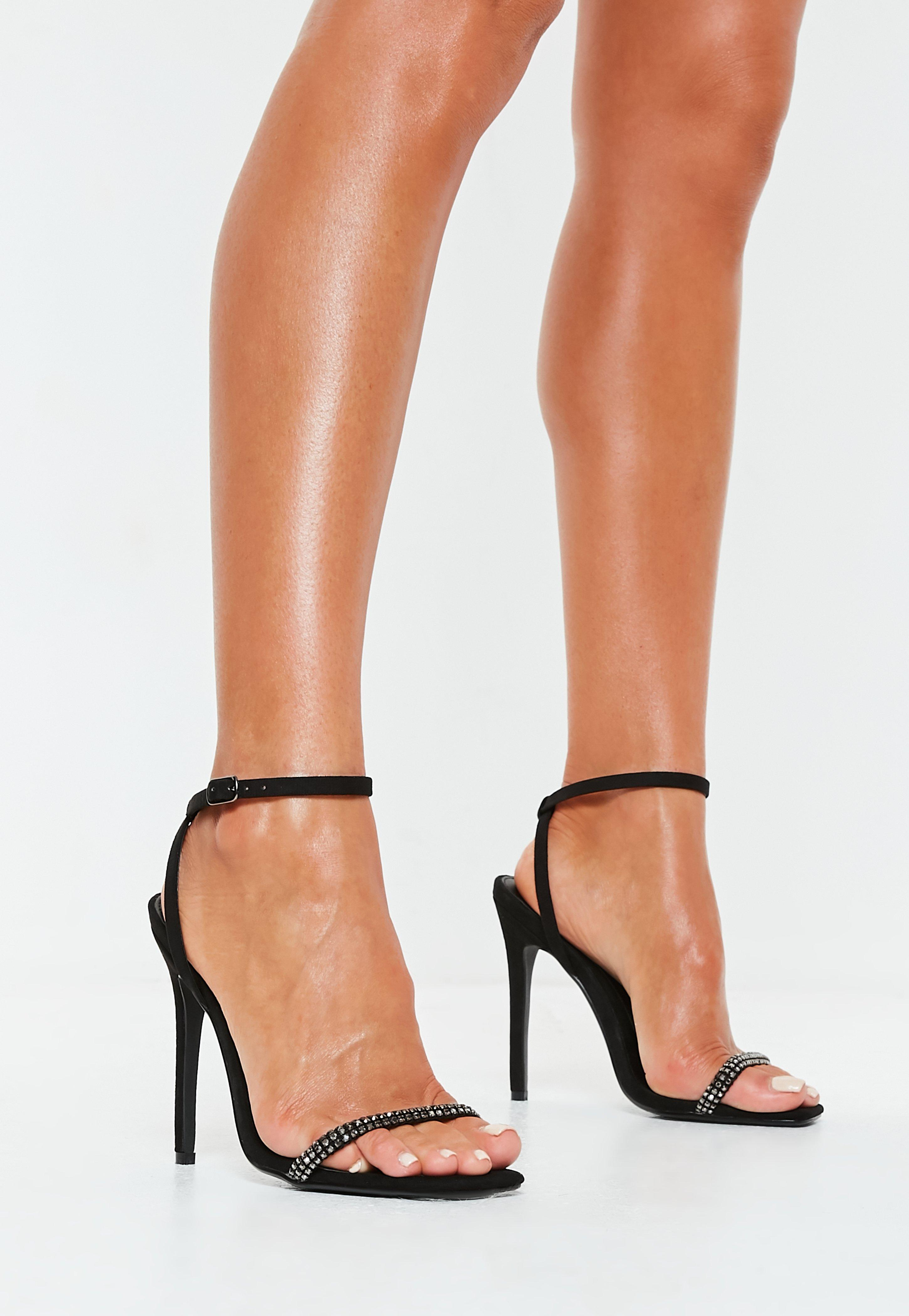 ae8d4d08bc7 Black Embellished Strap Barely There Heels