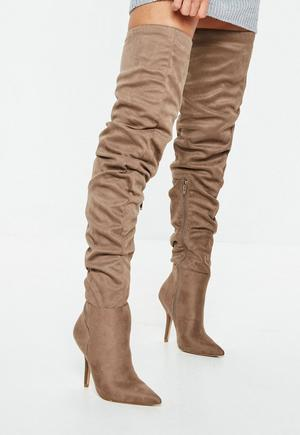 e240a8784d Tan Block Heel Faux Leather Thigh High Boots | Missguided