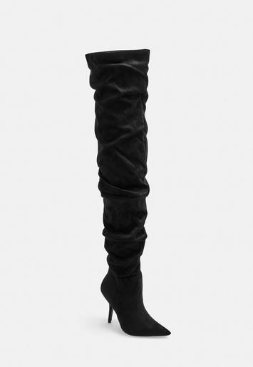 ee27424c83b2 Black Slouchy Over The Knee Boots