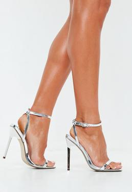 4ecf2fa3dbe Peace + Love Silver Metallic Chain Barely There Heels