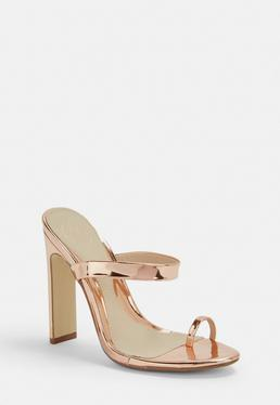 9b4e6f286e429a Rose Gold Heels. Ankle Boots. Block Heel Sandals