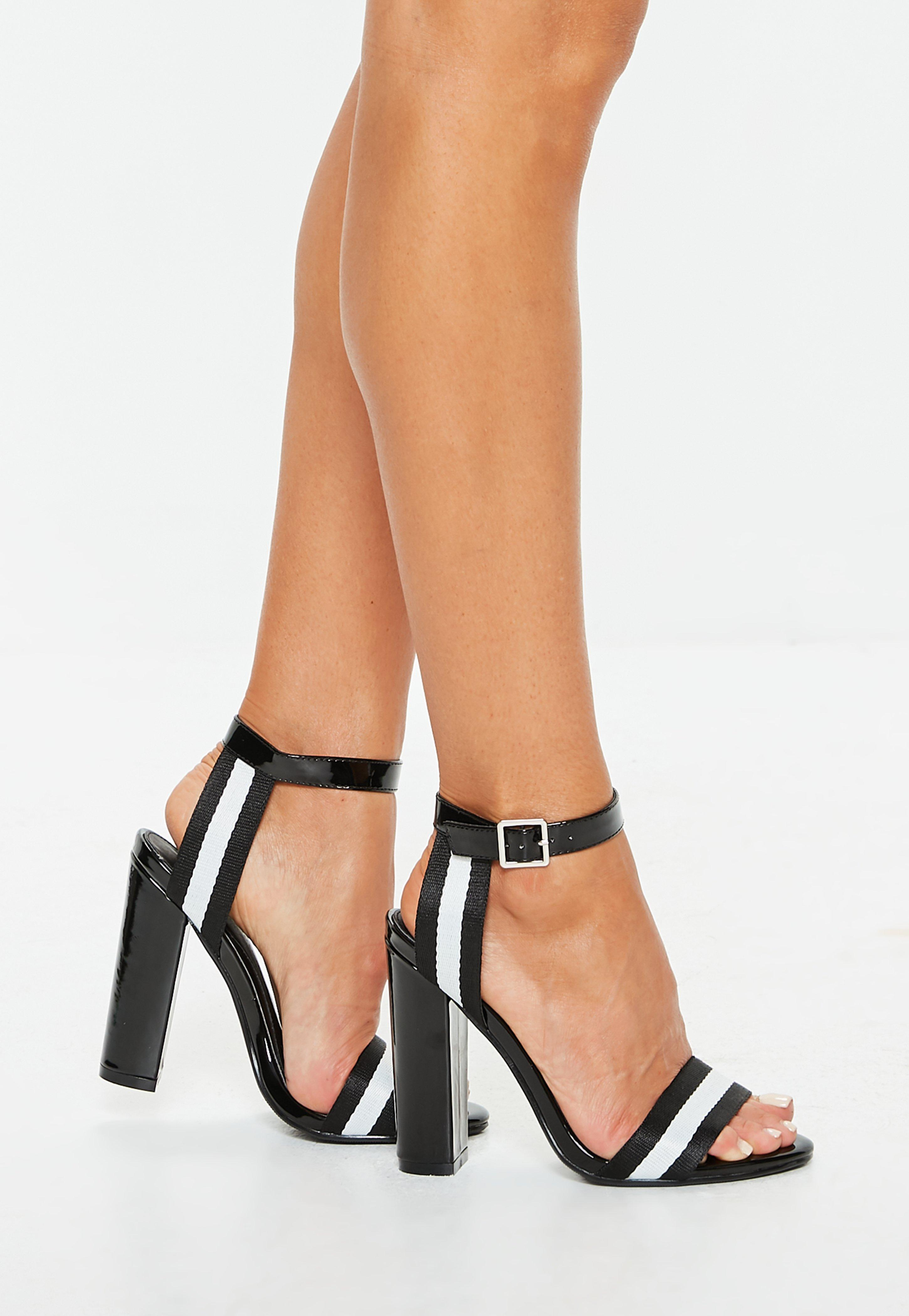 8f116ef549bc White Stripe Block Heel Sandals