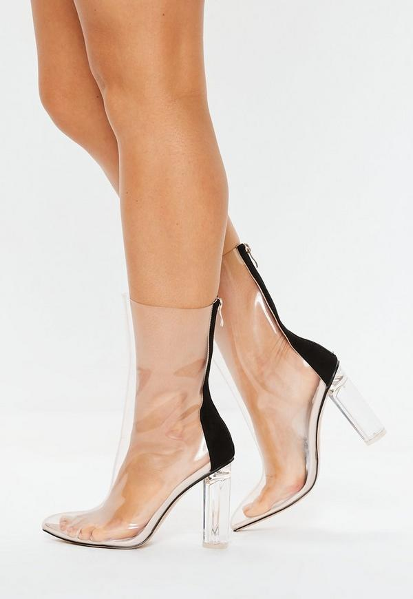 Clear Block Heel Ankle Boots