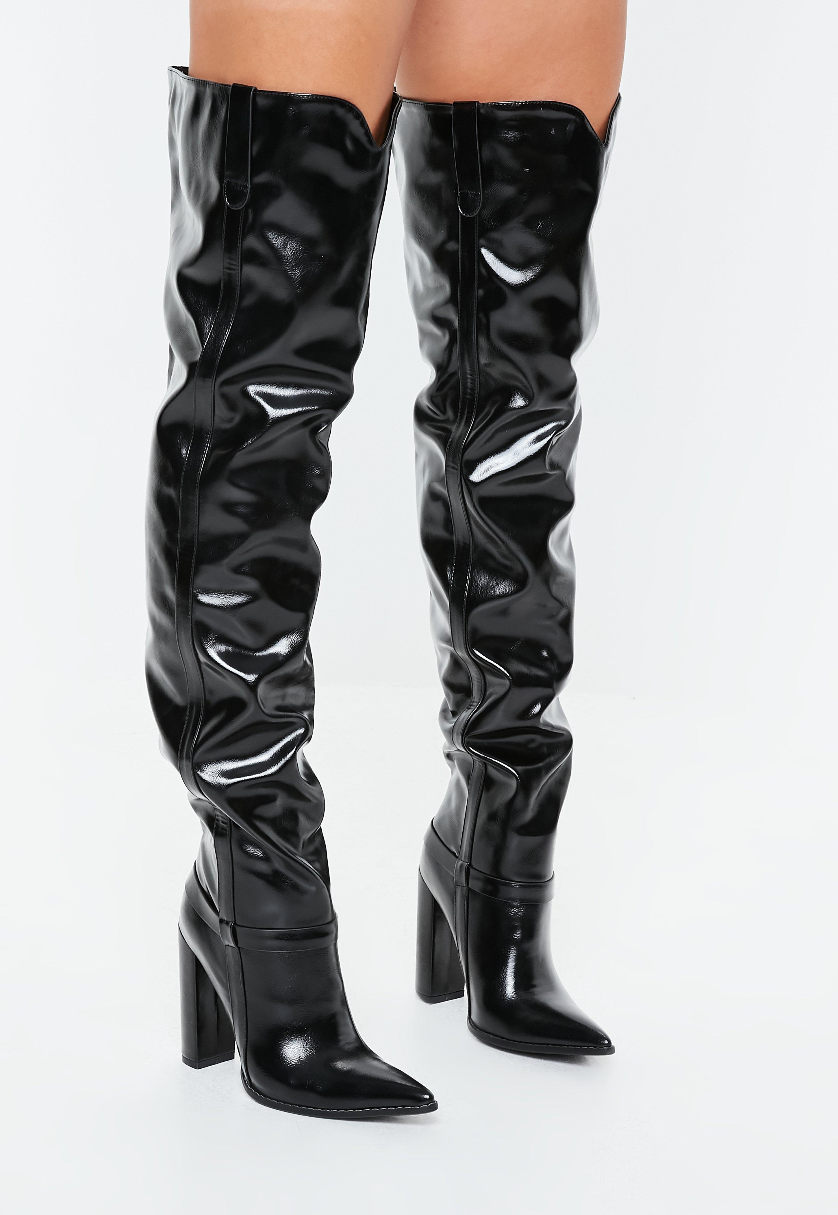 3e1f11f8026 Black Block Heel Faux Leather Thigh High Boots