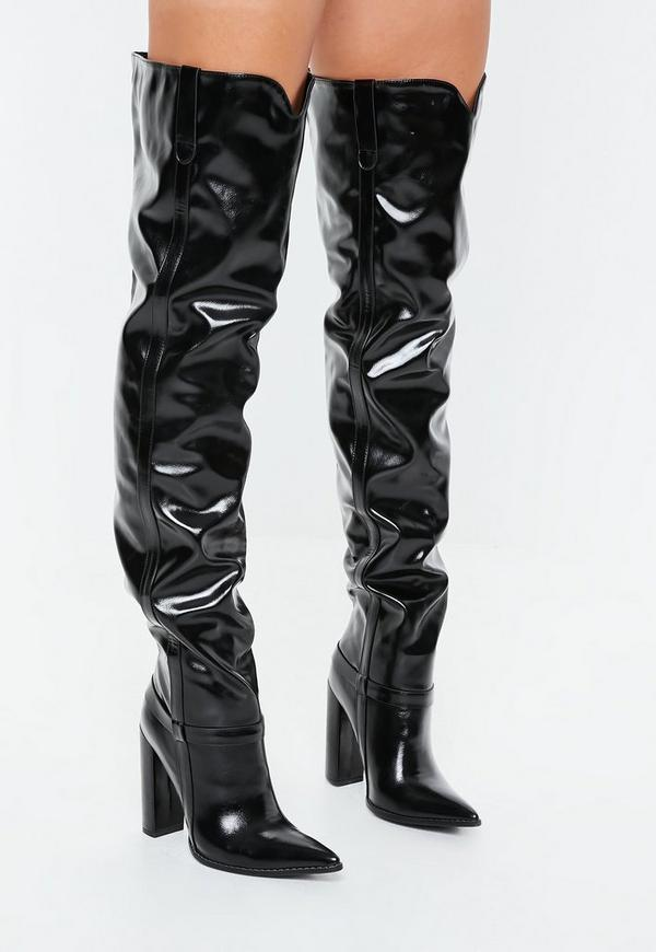 ea65ccf4a3b Black Block Heel Faux Leather Thigh High Boots