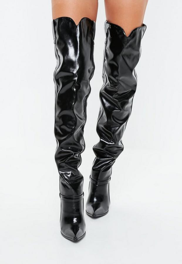 vernies noires style western en simili cuir