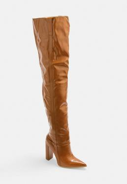 cf4060cc6 Tan Block Heel Faux Leather Thigh High Boots