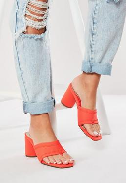 db9a3c23cf32 Neon Orange Block Heel Mules