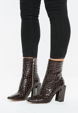 4e3151ffc83 Brown Feature Heel Ankle Boots