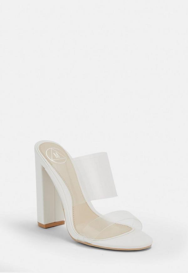b2463087bd9 White Perspex Block Heel Sandals. Previous Next